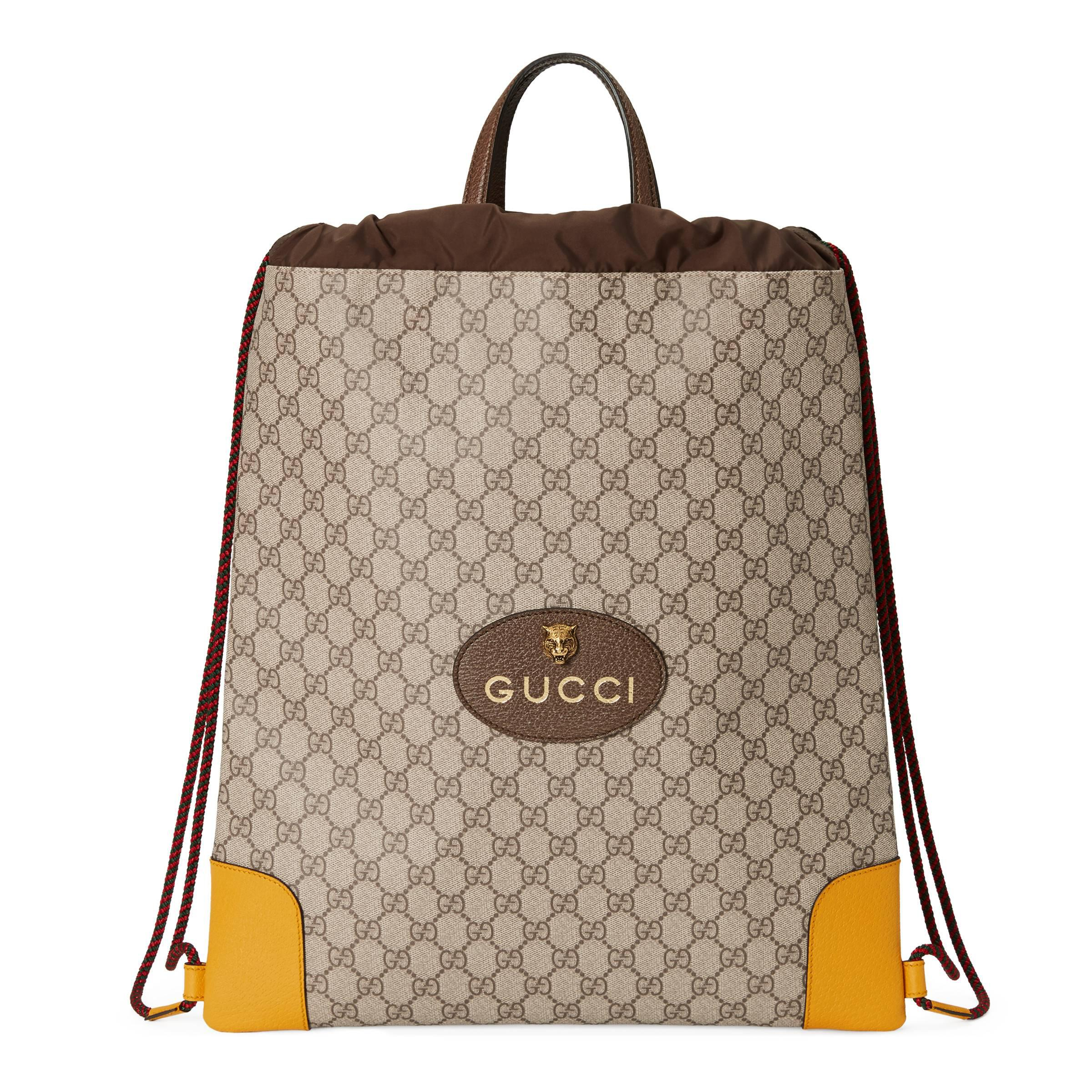 31fc659c76 Gucci - Natural GG Supreme Rucksack mit Zugband - Lyst. Vollbild ansehen