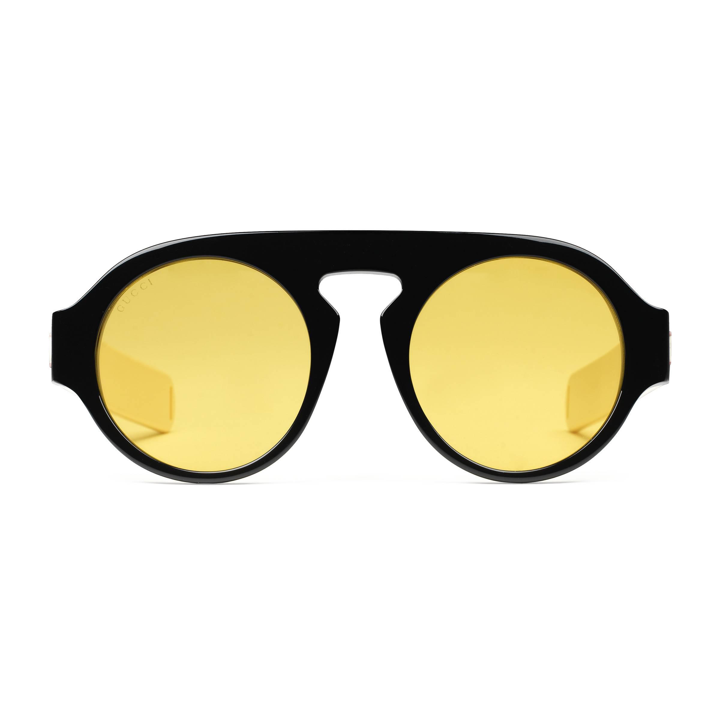 1e98bc6c1e0 Gucci Round-frame Acetate Sunglasses in Brown for Men - Lyst