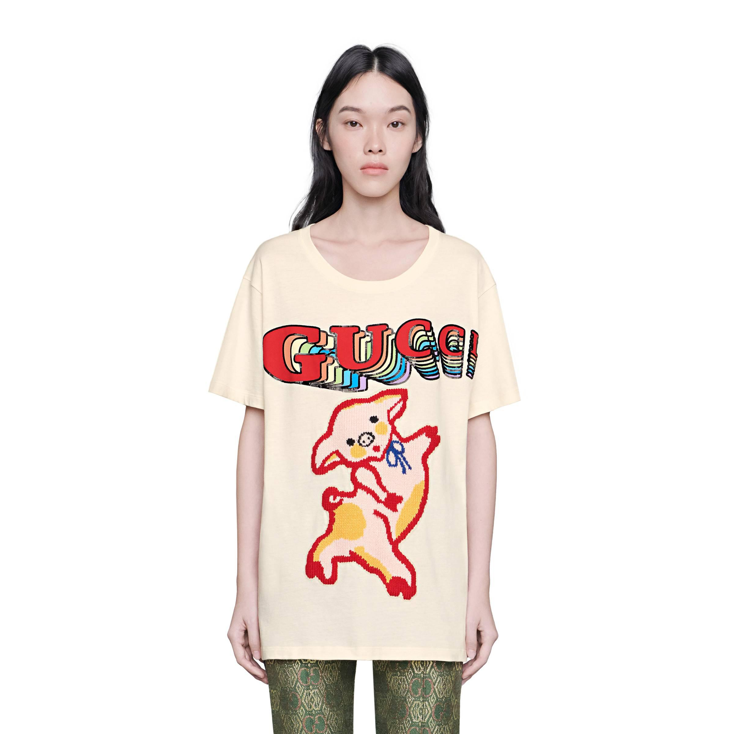 5fbf8b1a Gucci Women's Oversize Cotton T-shirt With Piglet in White - Lyst