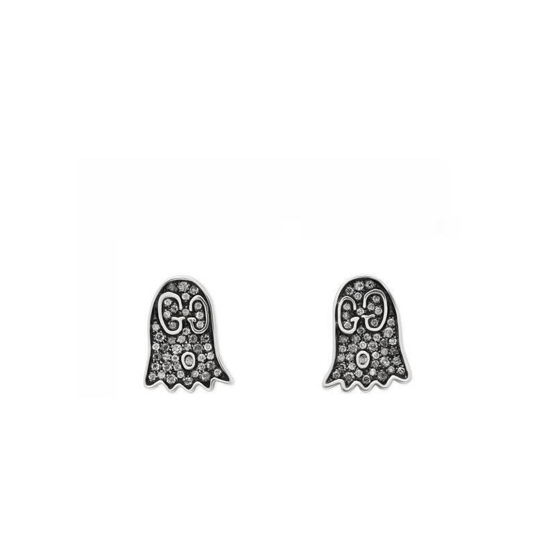 f1251cae590 Lyst - Gucci Ghost Earrings With Diamonds in Metallic