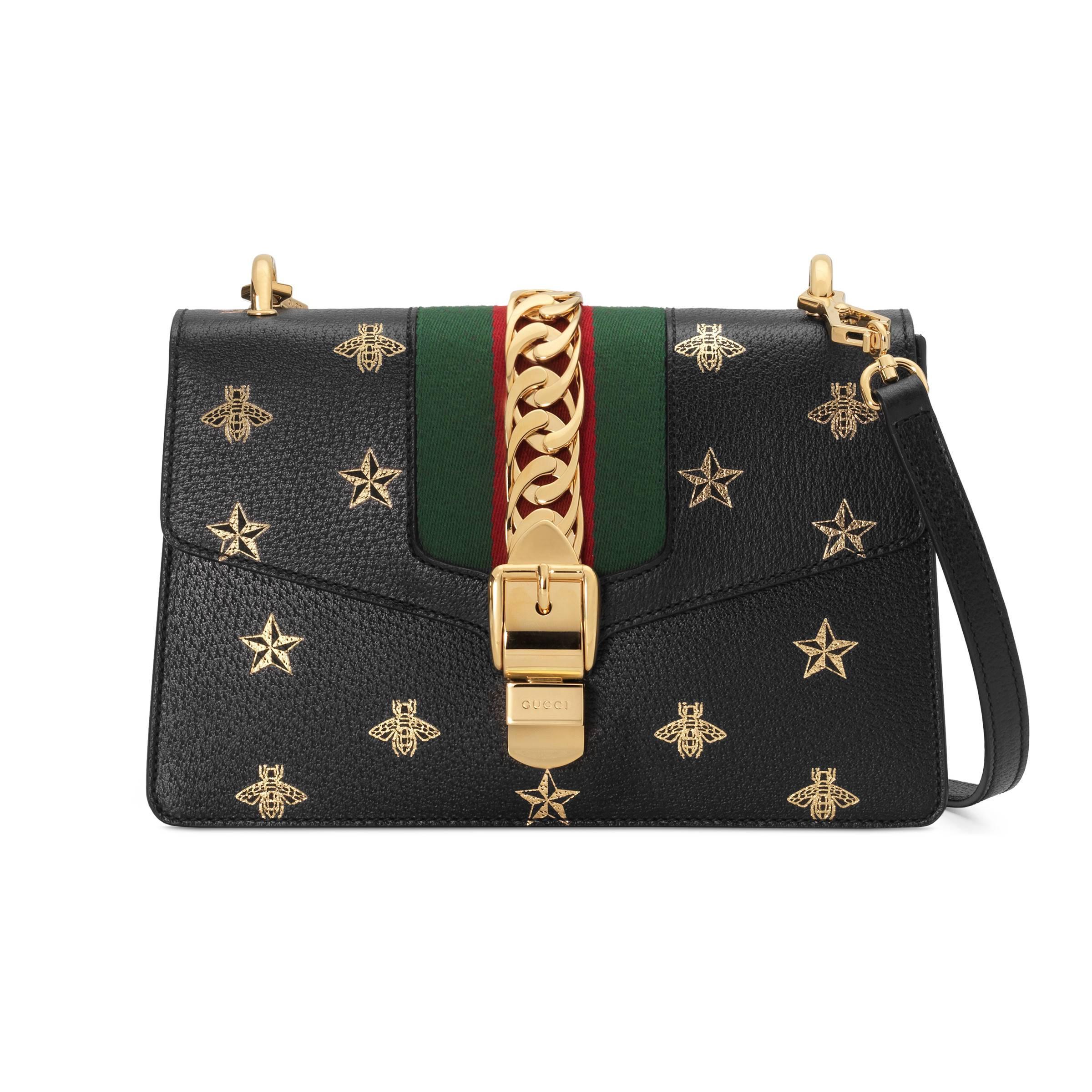 d1a7e67613d Gucci Sylvie Bee Star Small Shoulder Bag in Black - Lyst
