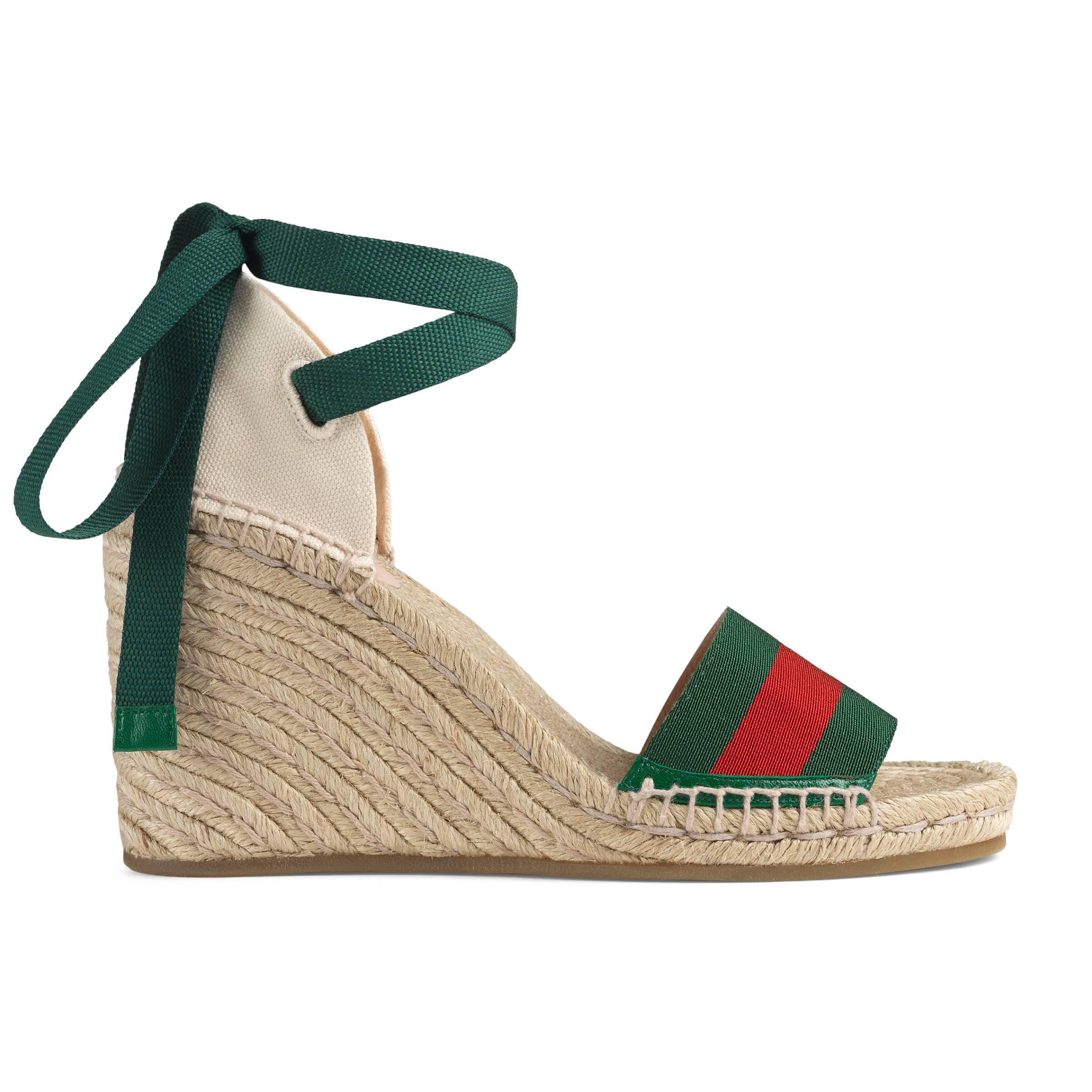 70aa6ef30117 Gucci Web Platform Espadrille in Green - Save 1% - Lyst