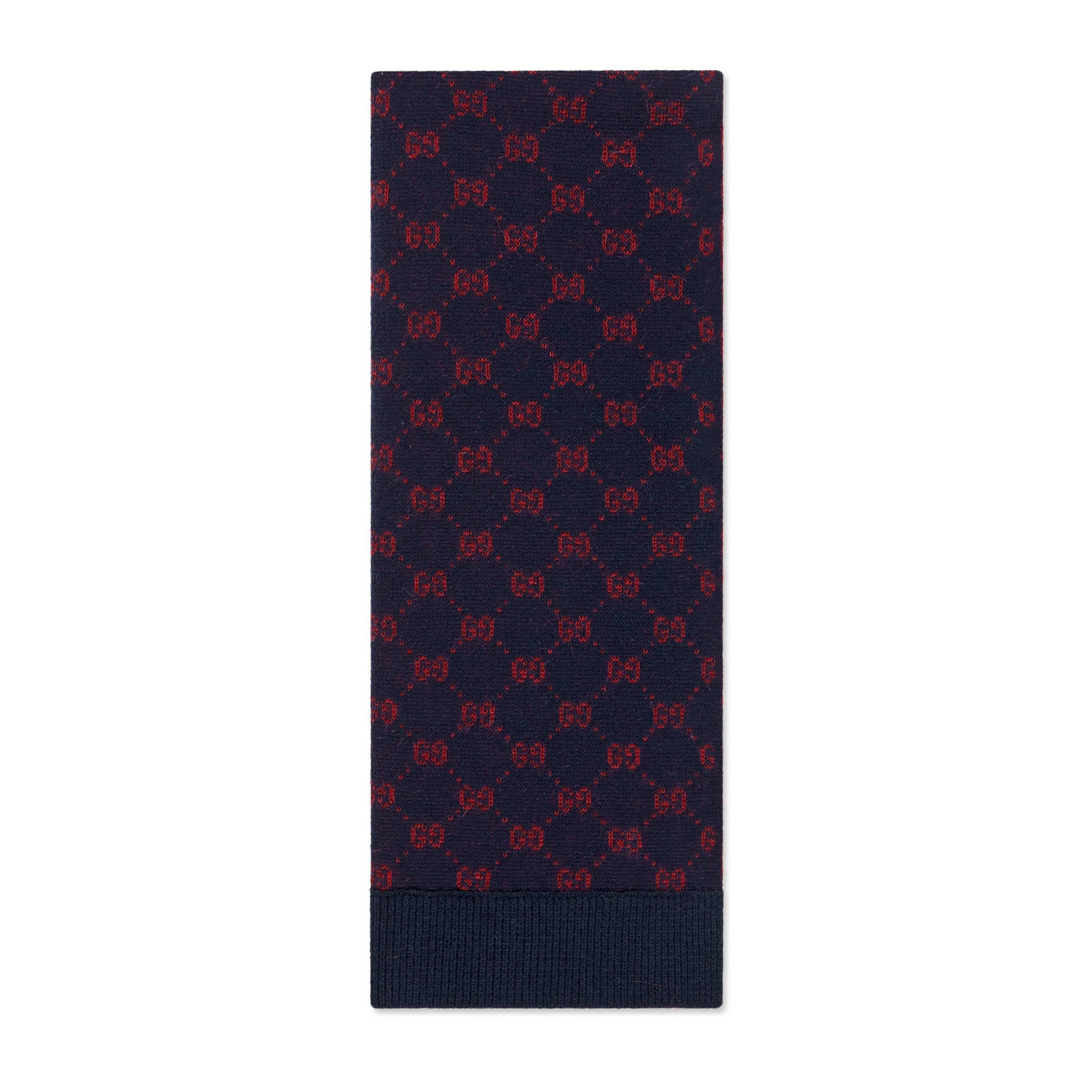 ef1d5d99a8 Gucci GG Alpaca Wool Scarf in Blue for Men - Lyst