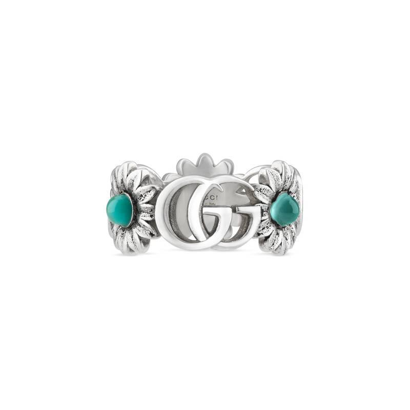 774356134 Gucci Double G Flower Ring in Metallic - Lyst