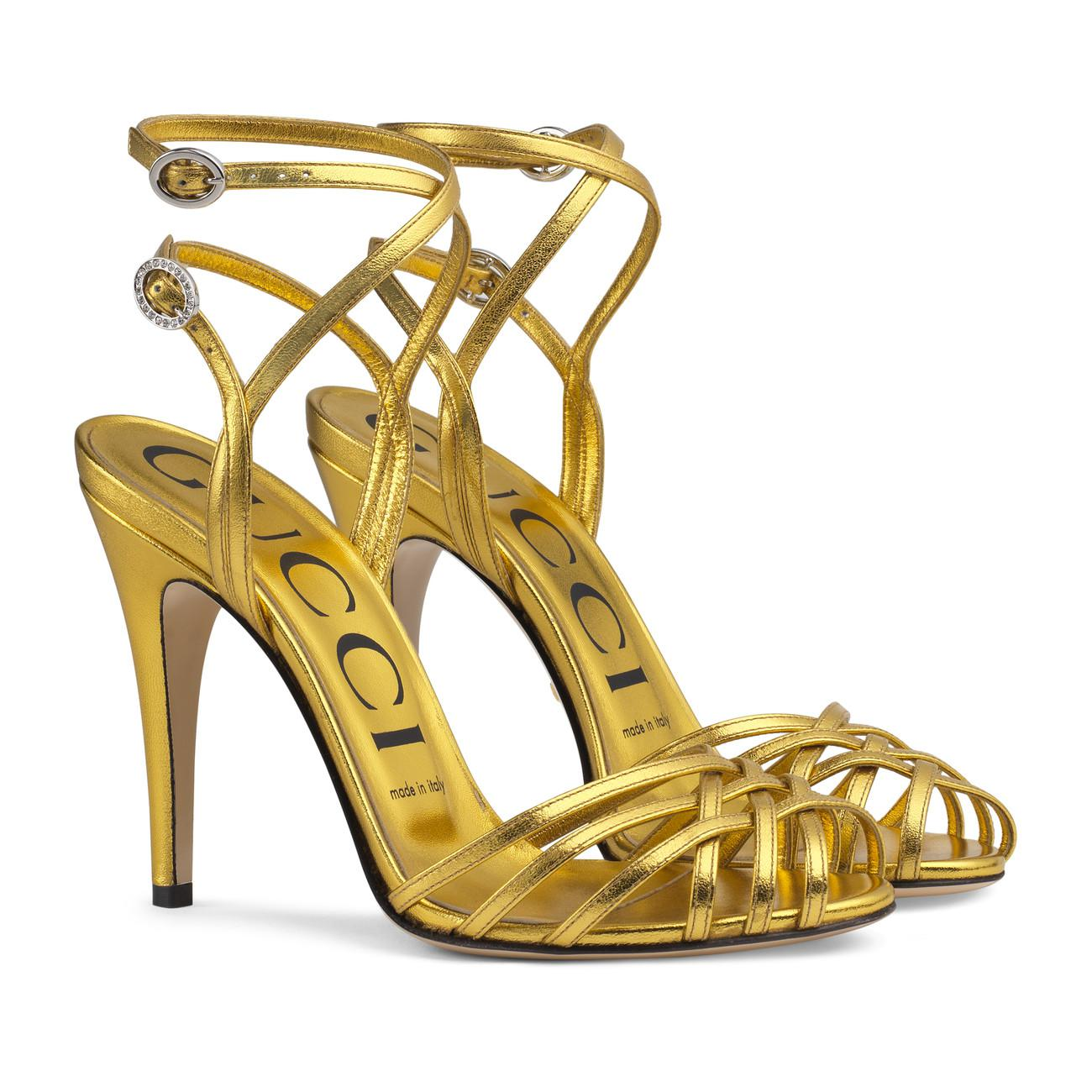 419da17af0c Lyst - Gucci Metallic Leather Sandal in Metallic