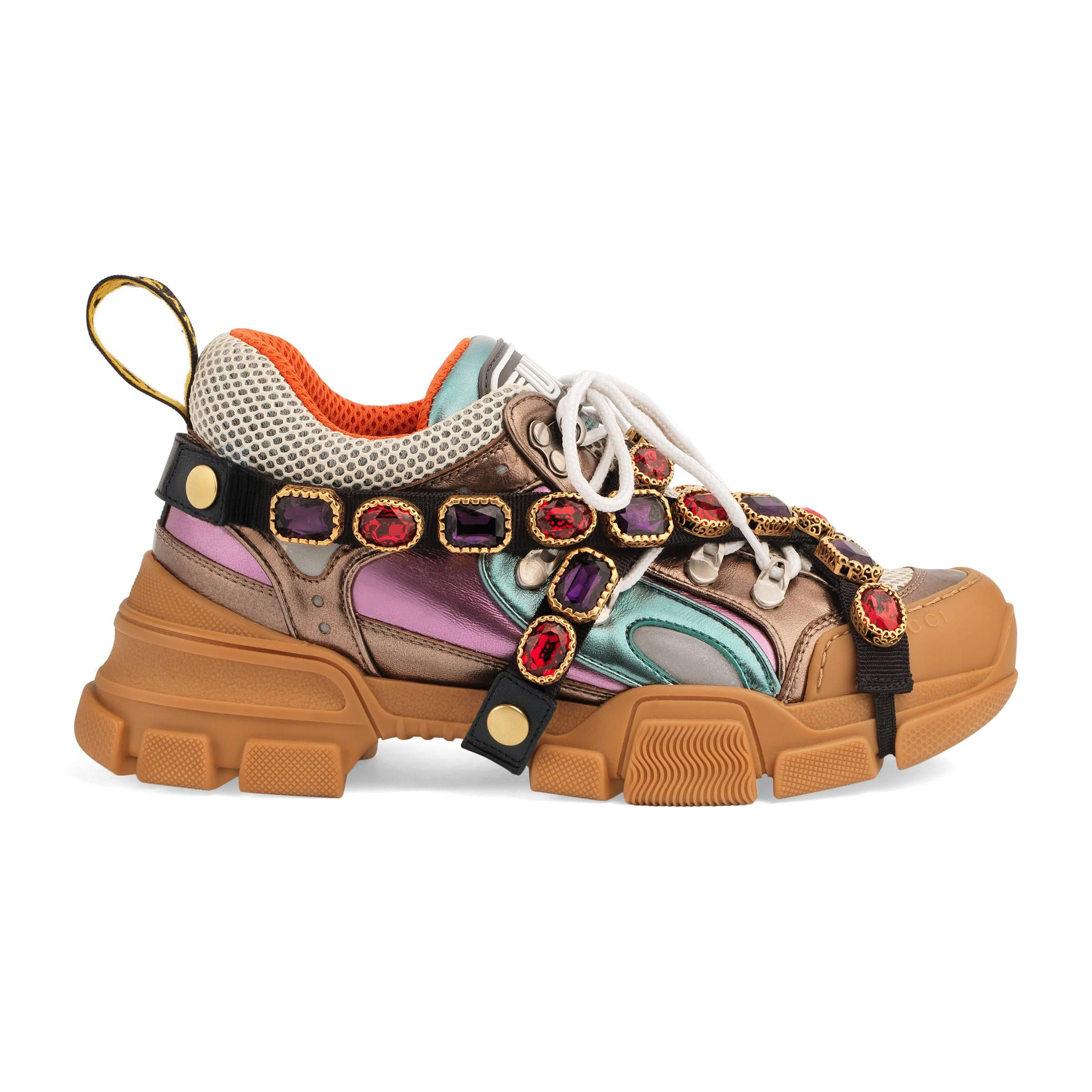 be8a9f15896 Gucci. Women s Multicoloured Metallic Flashtrek Removable Crystal Trainers