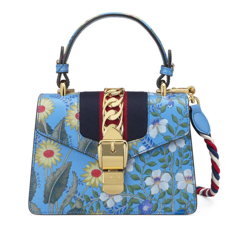 90225e266b4 Gucci Sylvie New Flora Leather Mini Bag in Blue - Lyst