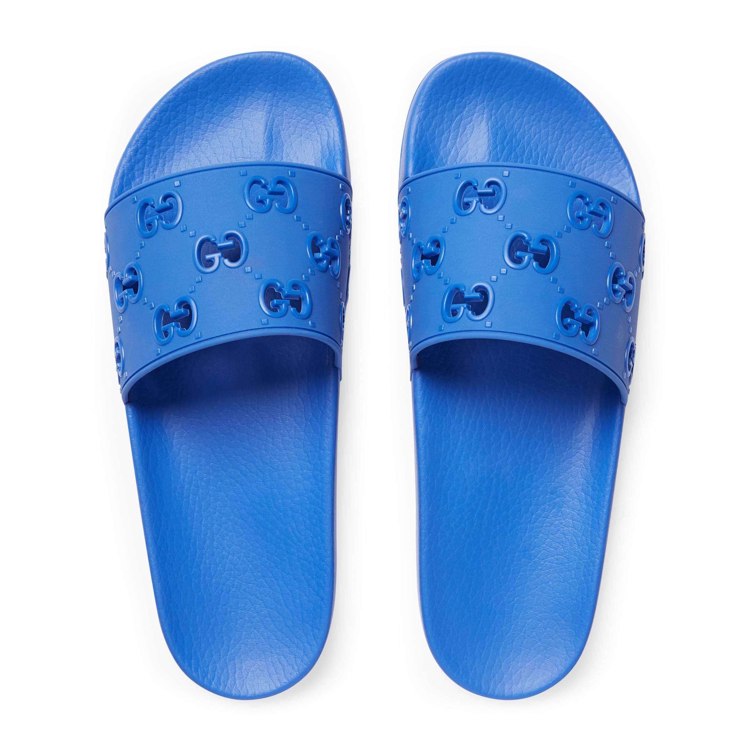 f932363f7 Gucci - Blue Men's Rubber GG Slide Sandal for Men - Lyst. View fullscreen