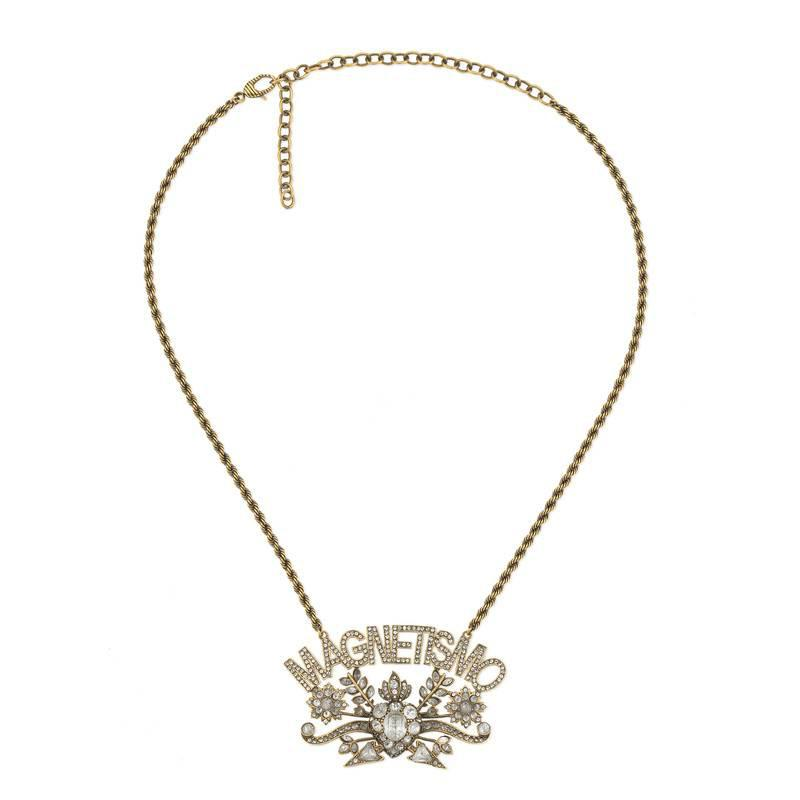 Gucci Guccy crystal pendant necklace - Metallic 6p9548T