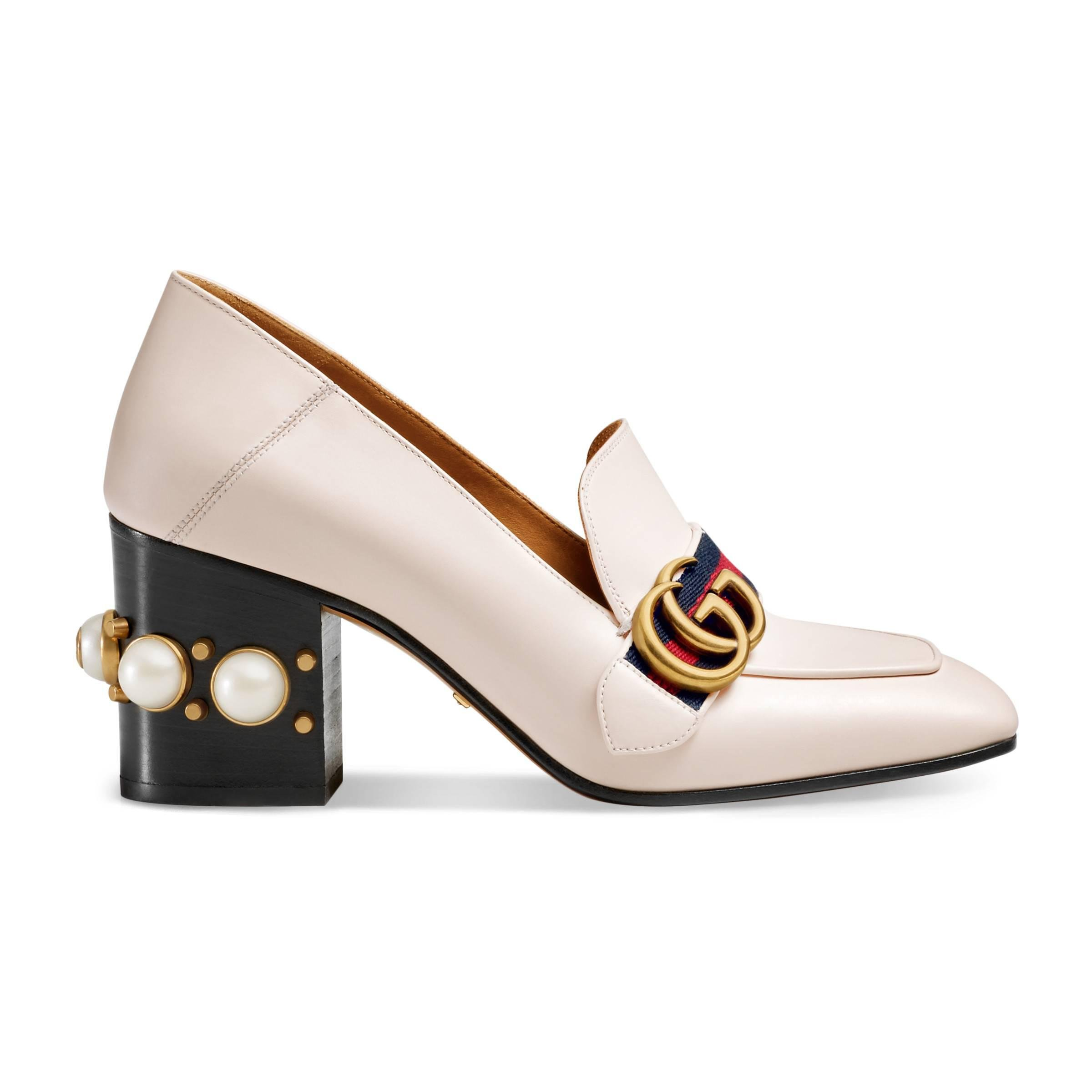 5a6f15f0932 Gucci Leather Mid-heel Loafer in White - Lyst