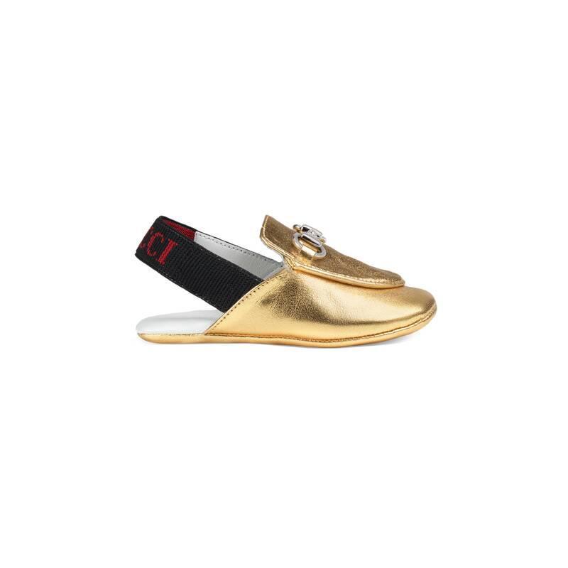 bc0de877e Gucci - Baby Princetown Metallic Leather Slipper in Metallic - Lyst
