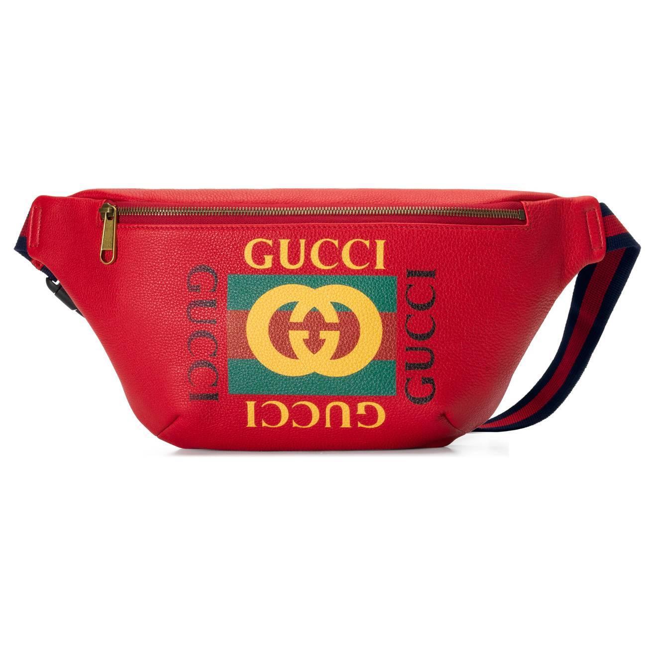 44ea746e4ad8 Gucci - Red Print Leather Belt Bag for Men - Lyst. View fullscreen