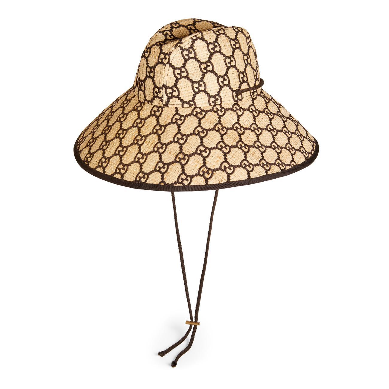 ad5c00f3e0e Lyst - Gucci GG Raffia Wide Brim Hat in Brown - Save 48%