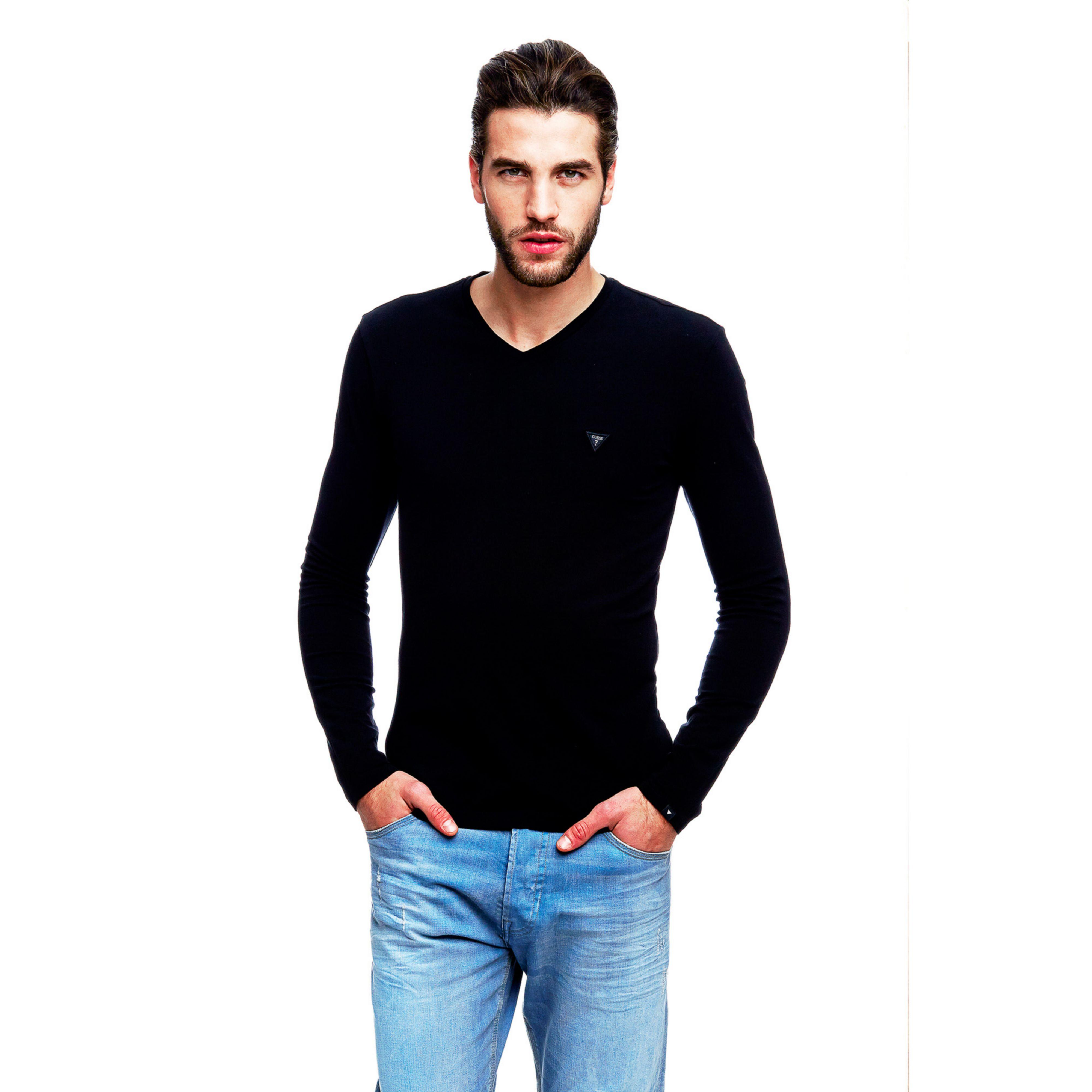 Guess Long Sleeve T Shirt In Black For Men Lyst