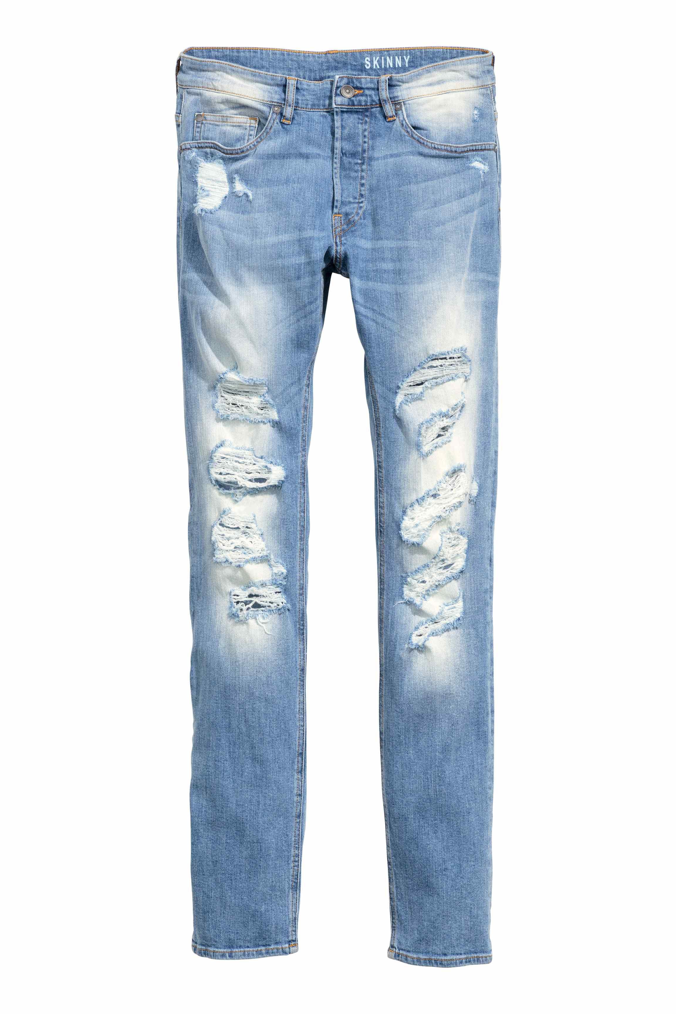 H Amp M Skinny Regular Trashed Jeans In Blue For Men Lyst