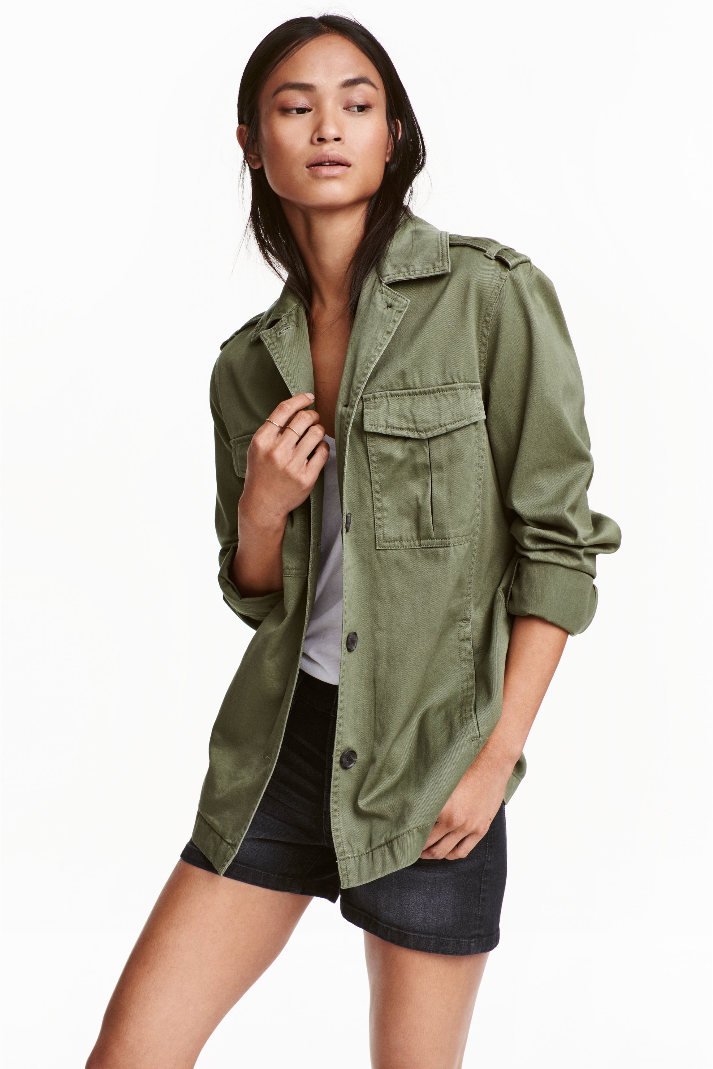 h m cargo jacket in green khaki green lyst. Black Bedroom Furniture Sets. Home Design Ideas