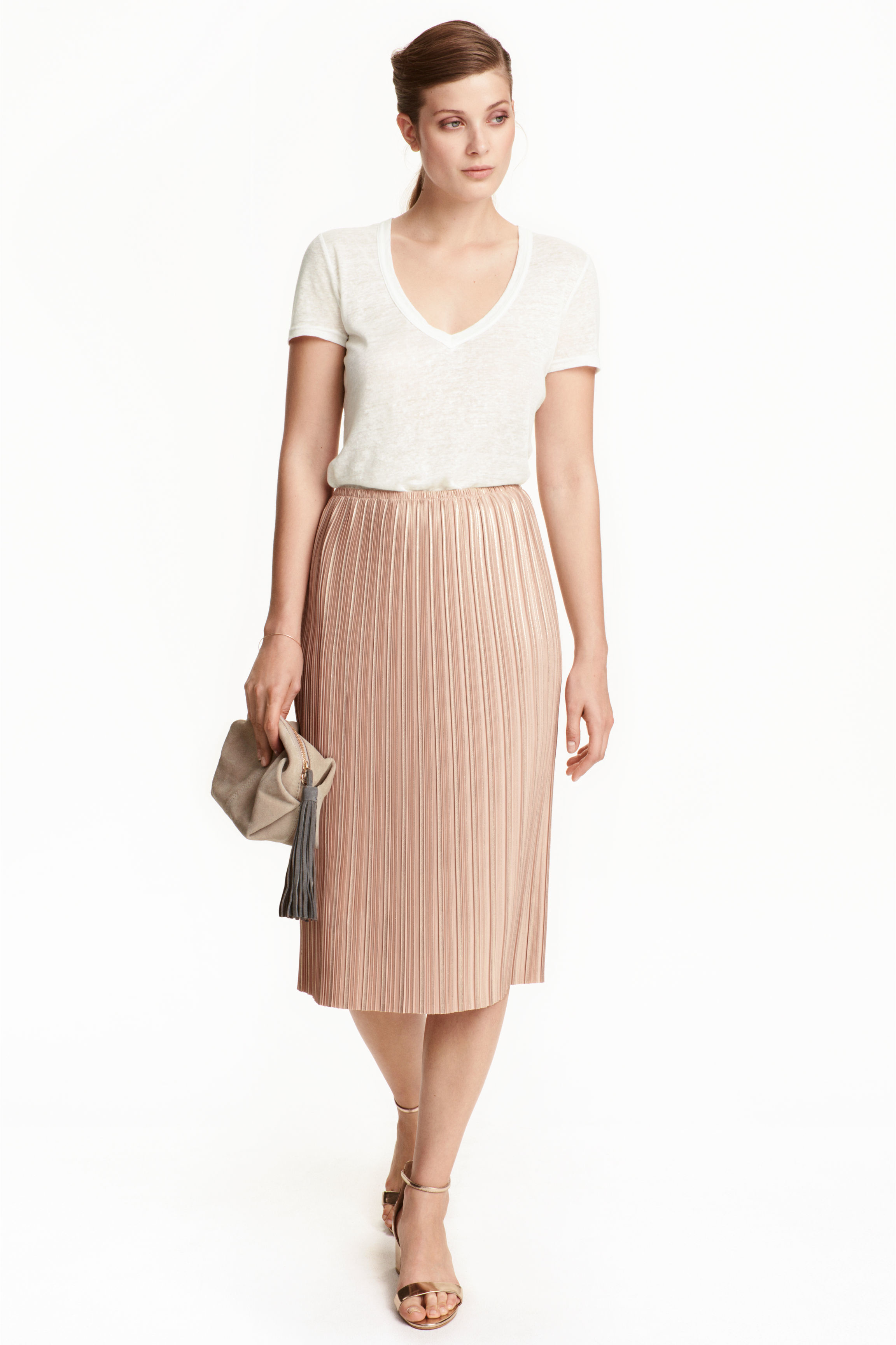 h m pleated skirt in pink lyst
