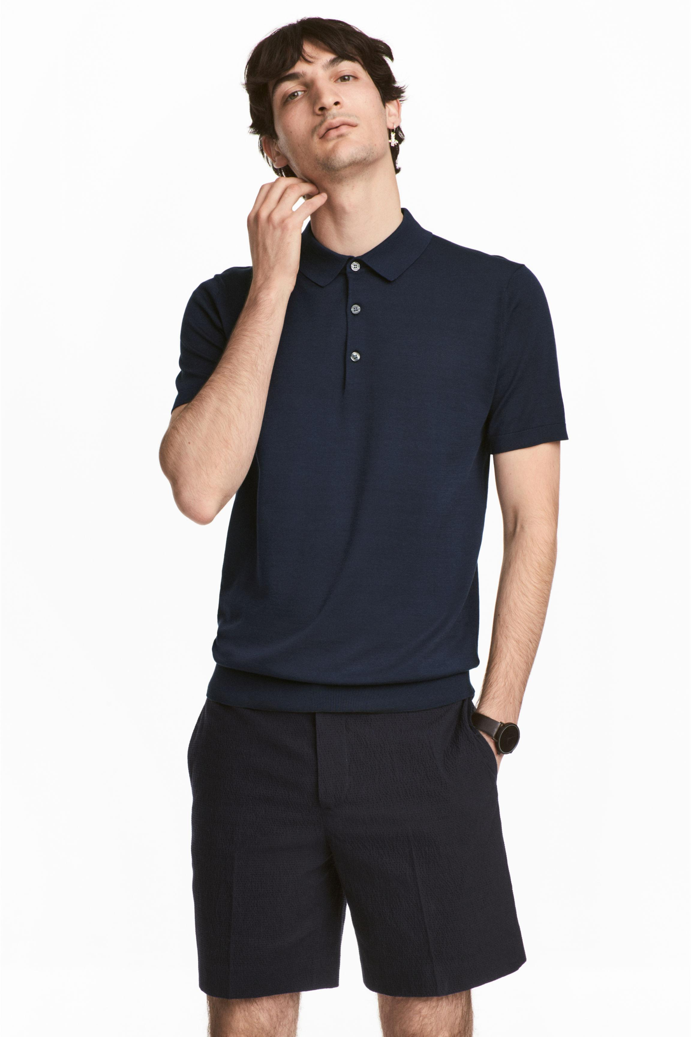 H m silk blend polo shirt in blue for men lyst for H m polo shirt mens