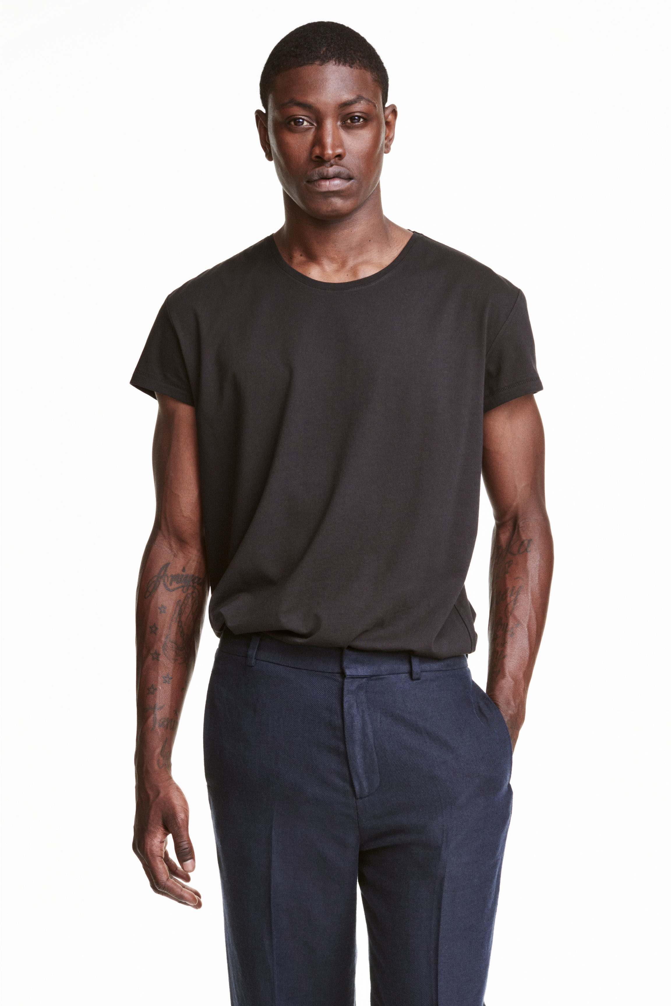 H m t shirt in black for men lyst for Bear river workwear shirts