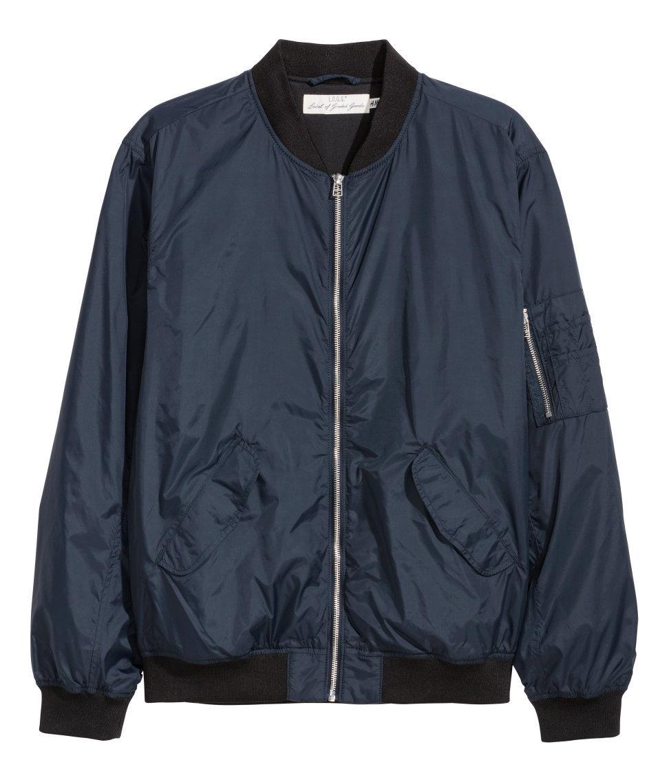 Hu0026m Bomber Jacket In Blue For Men | Lyst