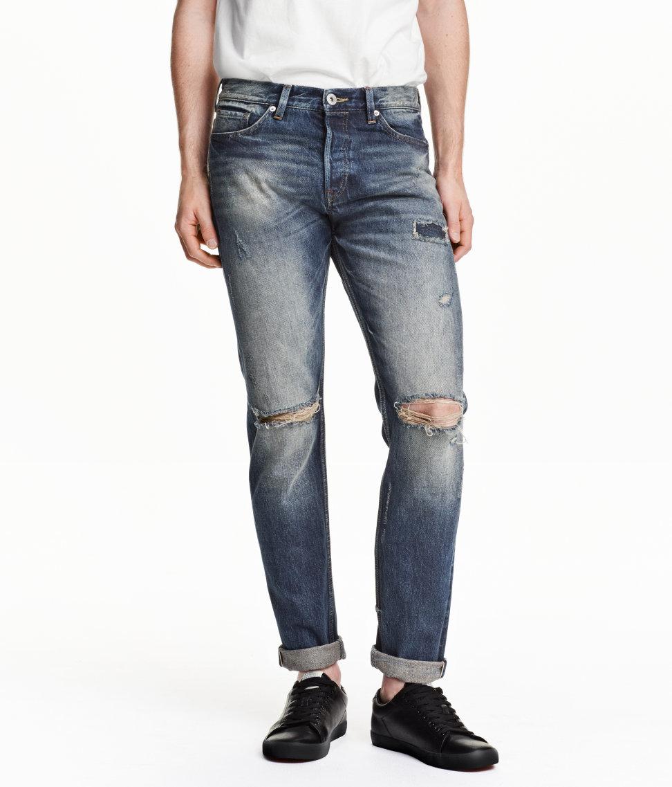 H Amp M Slim Regular Selvedge Jeans In Blue For Men Lyst