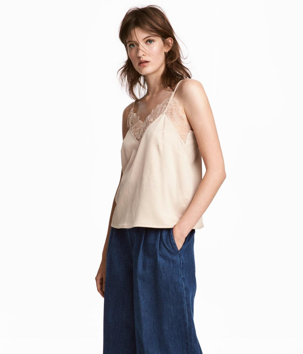 ced4326899c Lyst - H&M Crinkled Strappy Top in Natural