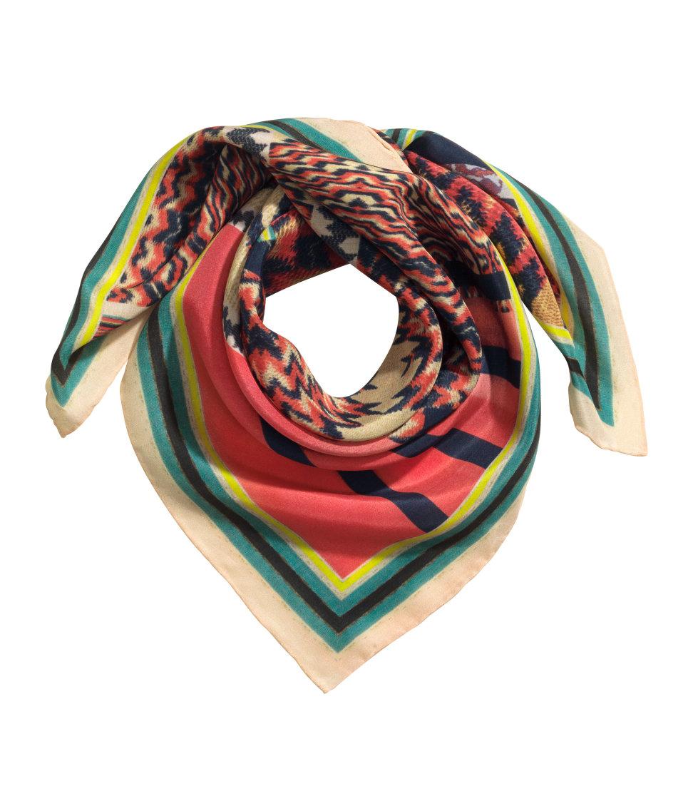 h m printed silk blend scarf in lyst