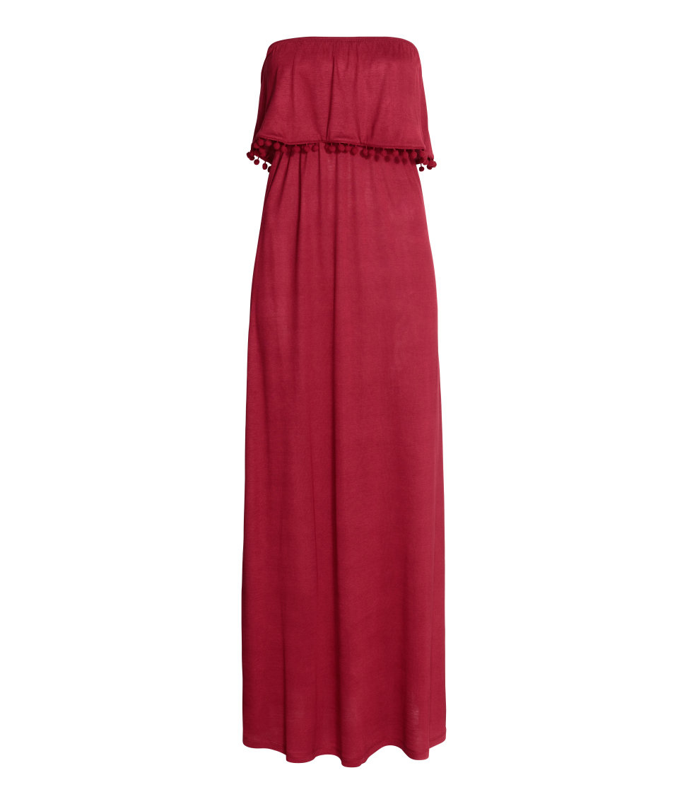hm bandeau dress in red lyst With robe longue a volant