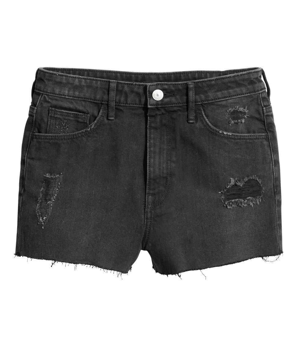 Hu0026m Denim Shorts High Waist in Black | Lyst