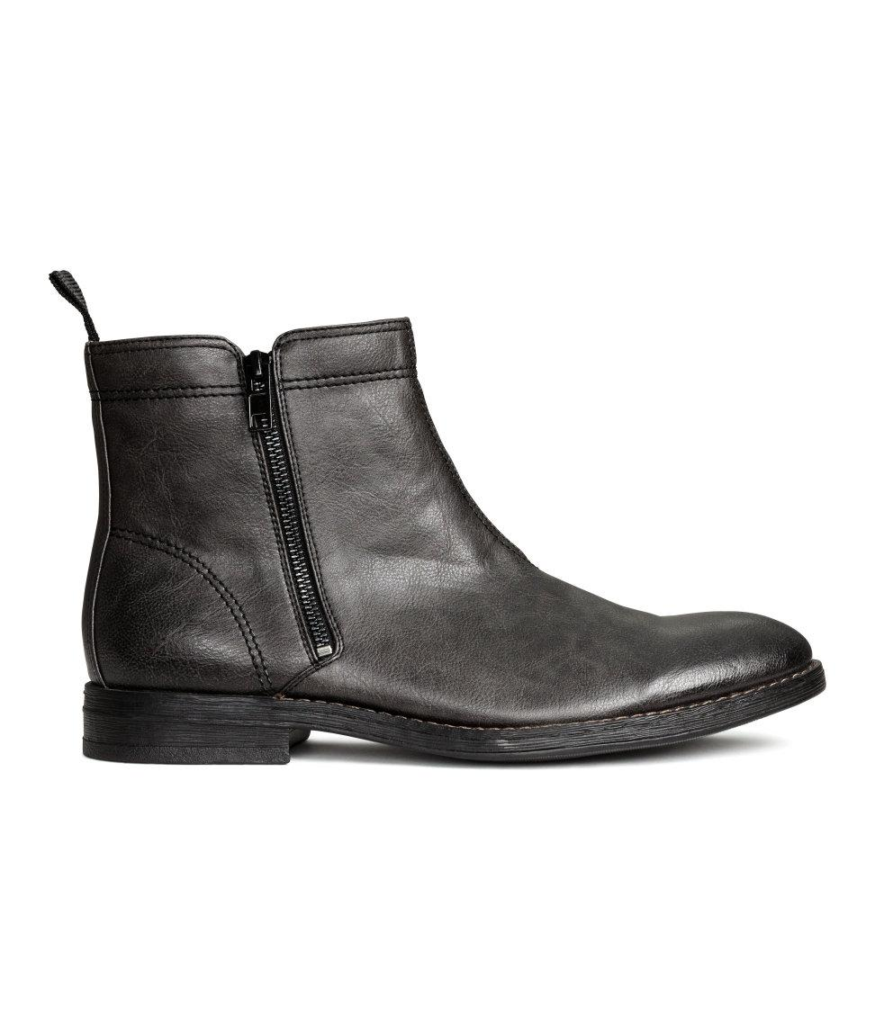h m zipped ankle boots in black for lyst