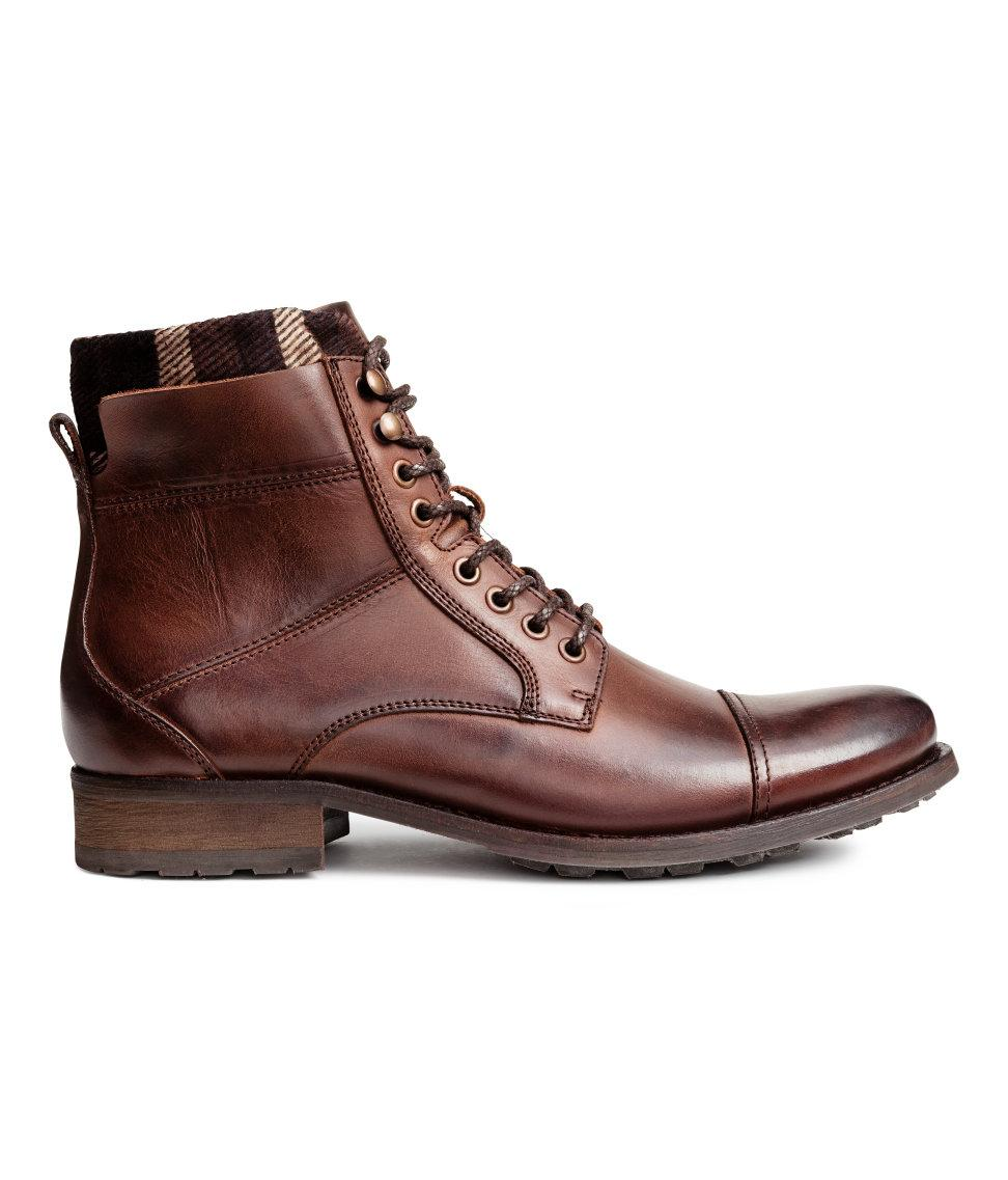 h m leather shaft boots in brown for lyst