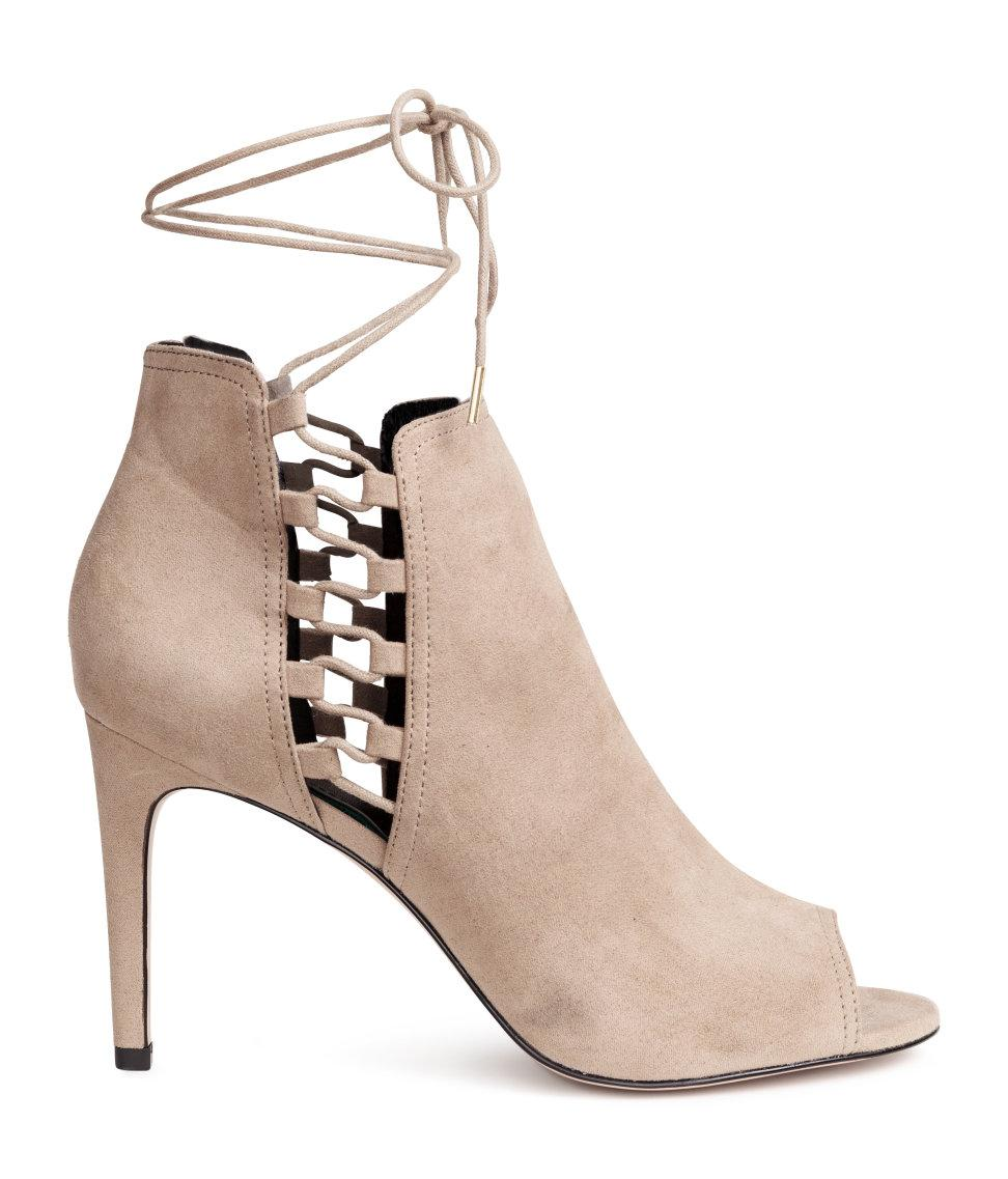 h m peep toe ankle boots in brown lyst