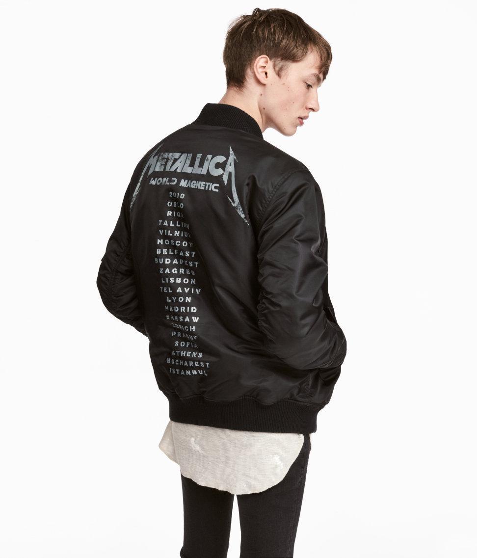 H Amp M Printed Bomber Jacket In Black For Men Lyst