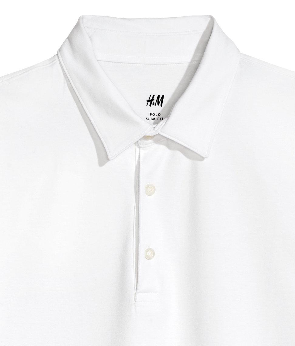 Lyst Hm Polo Shirt Slim Fit In White For Men