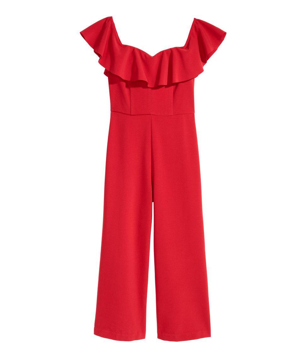lyst h m off the shoulder jumpsuit in red. Black Bedroom Furniture Sets. Home Design Ideas