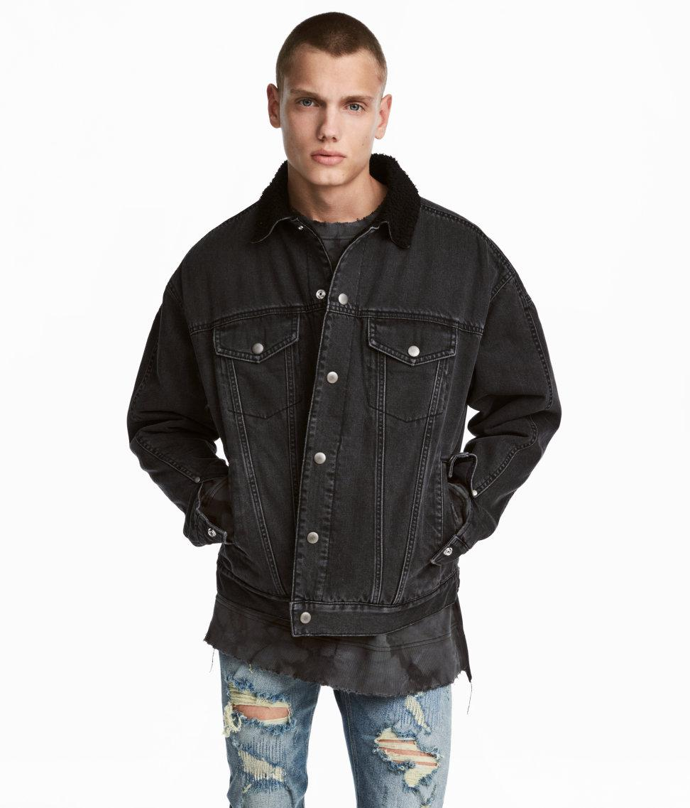 Lyst H M Pile Lined Denim Jacket In Black For Men