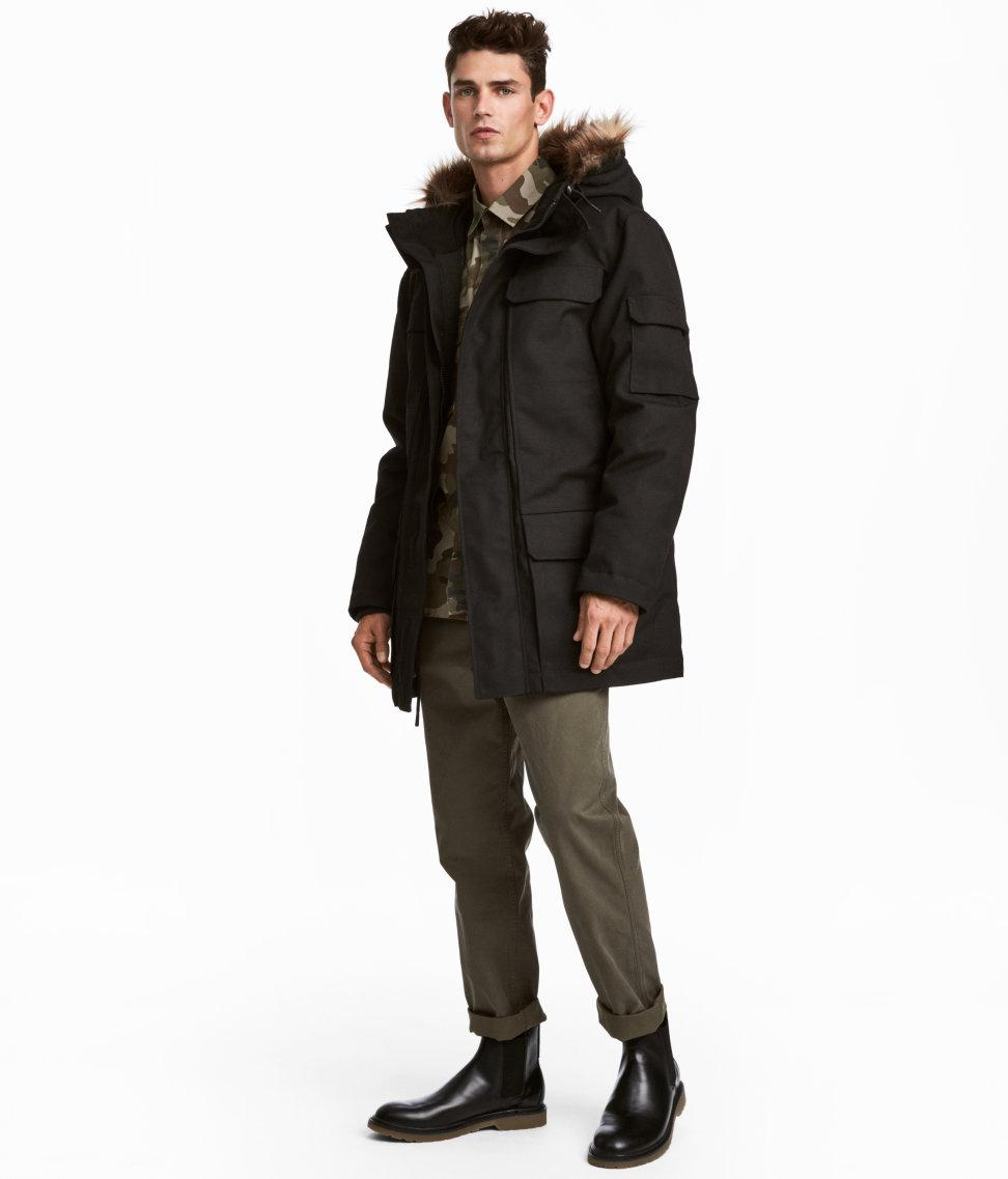 H and m black parka