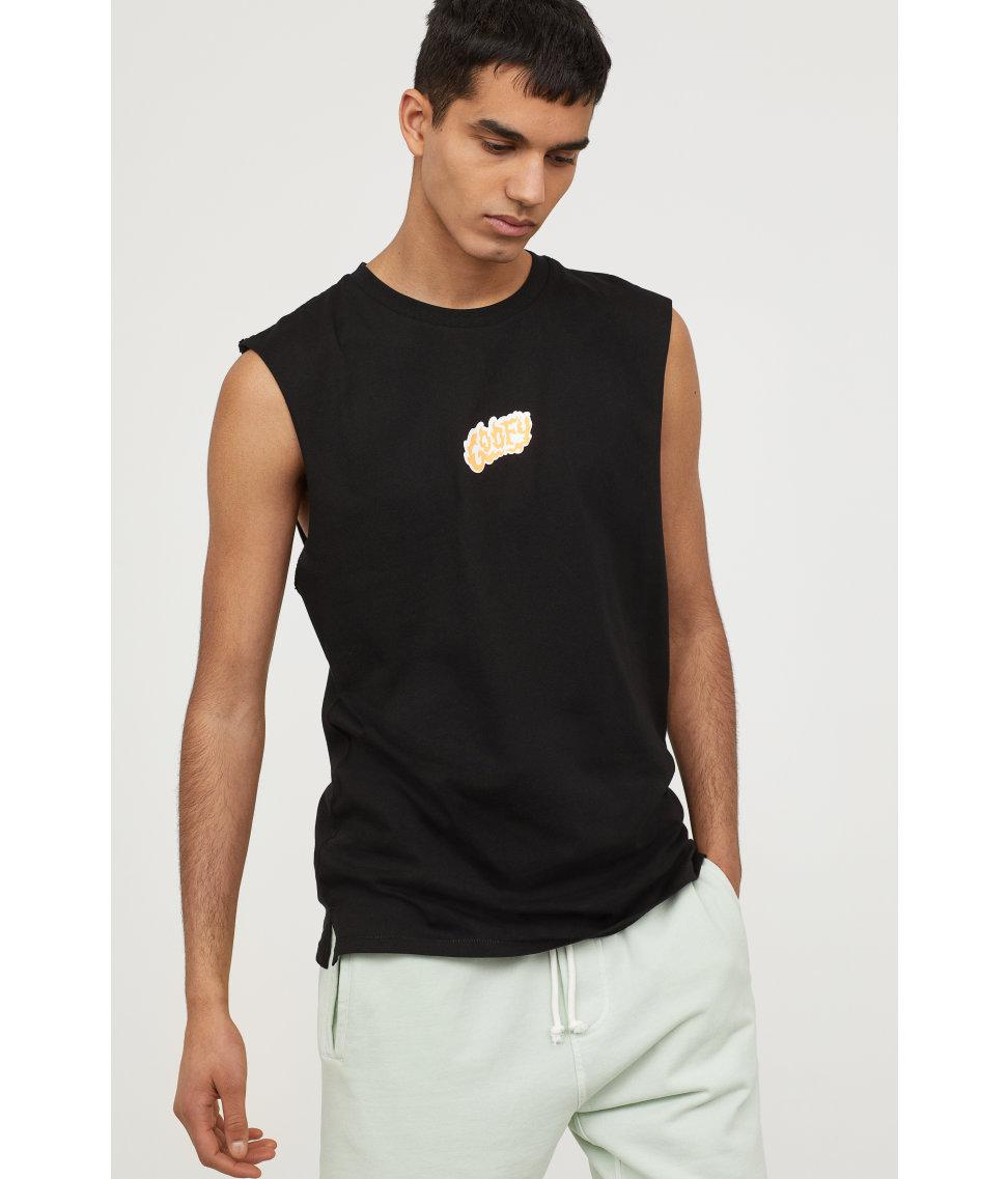 9b934854 H&M T-shirt With Cut-off Sleeves in Black for Men - Lyst
