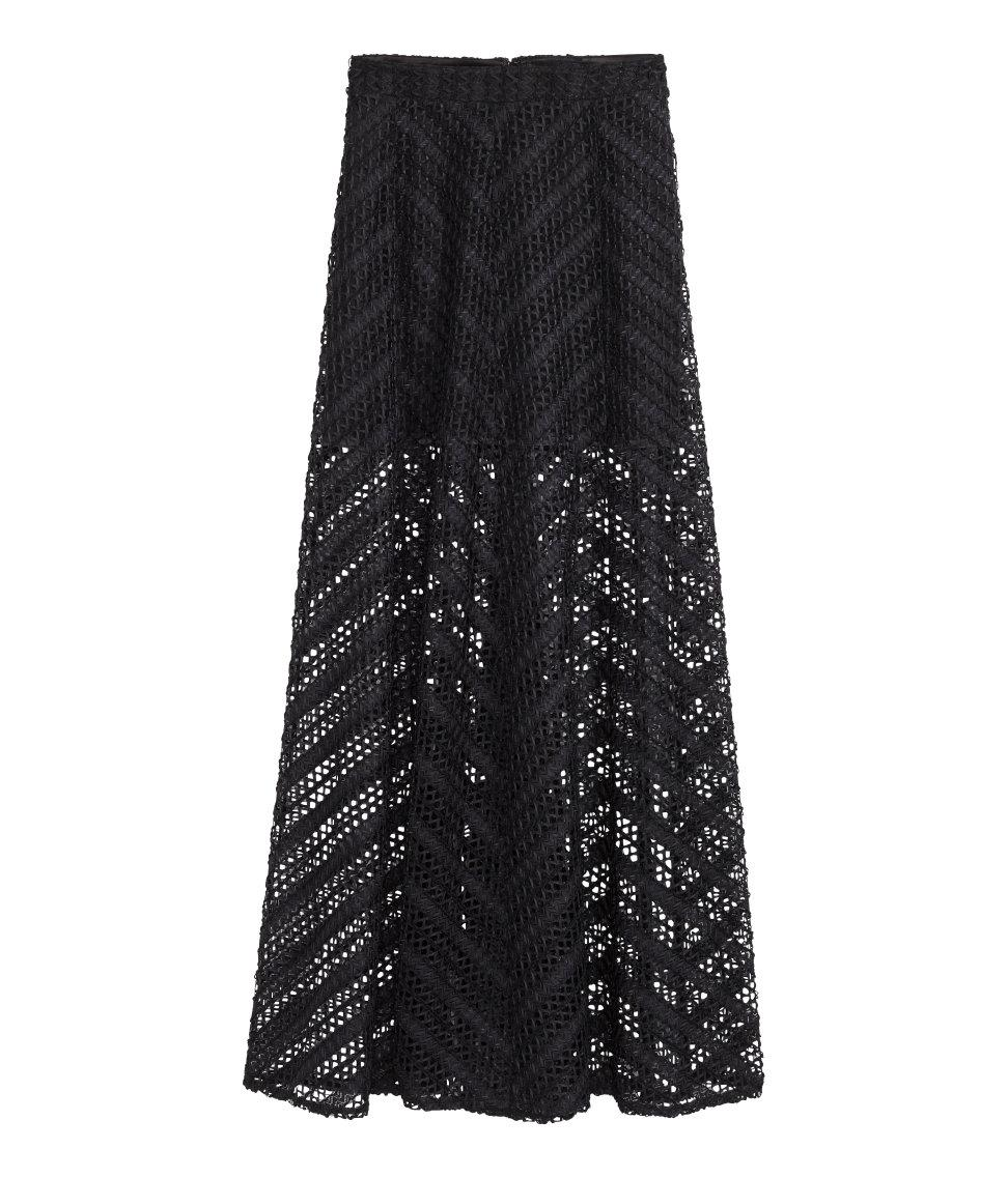 h m lace maxi skirt in black lyst