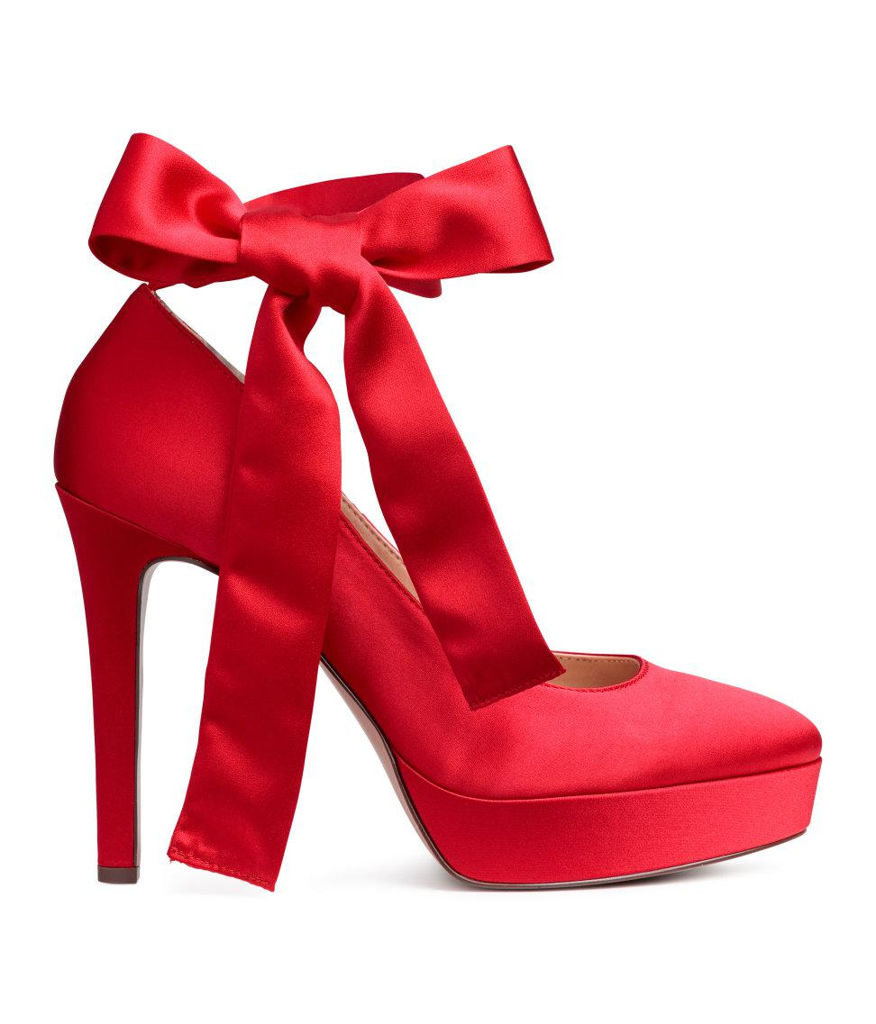 ef27ac15e775 Lyst - H M Satin Platform Pumps in Red