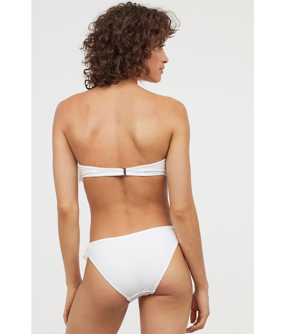 4b6458ae6f H&M Frilled Balconette Bikini Top in White - Lyst