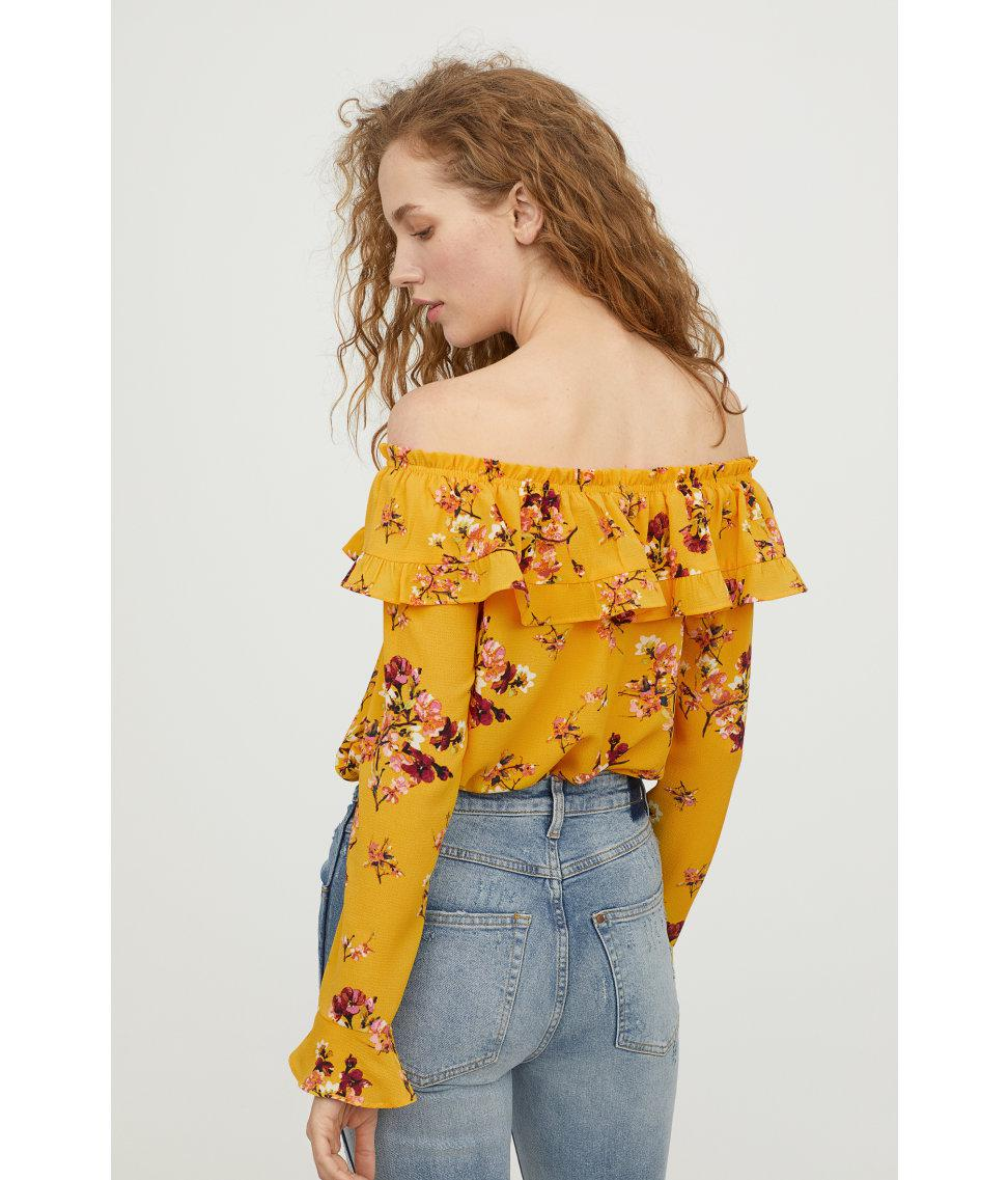 196005f211e H&M Off-the-shoulder Blouse in Yellow - Lyst