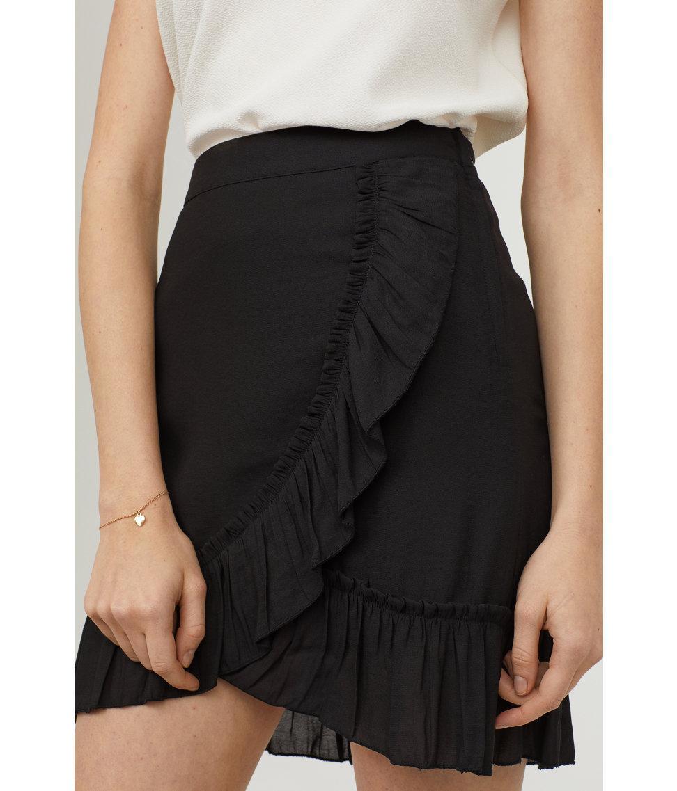 3a6d85c92 Lyst - H&M Chiffon Skirt in Black
