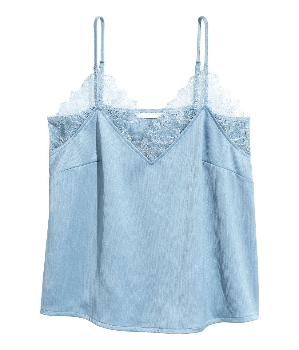 0b69a206230 Lyst - H&M Crinkled Strappy Top in Blue