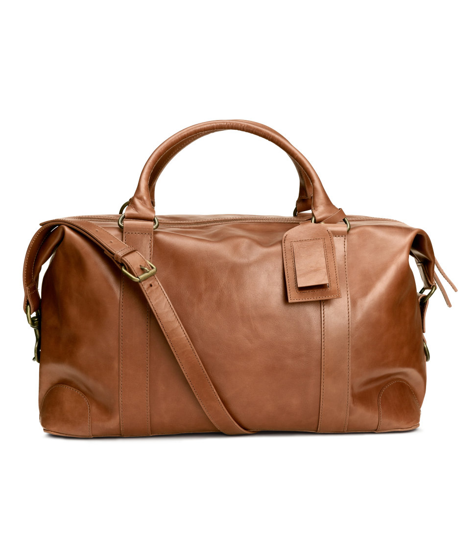 H&m Leather Weekend Bag in Brown for Men | Lyst