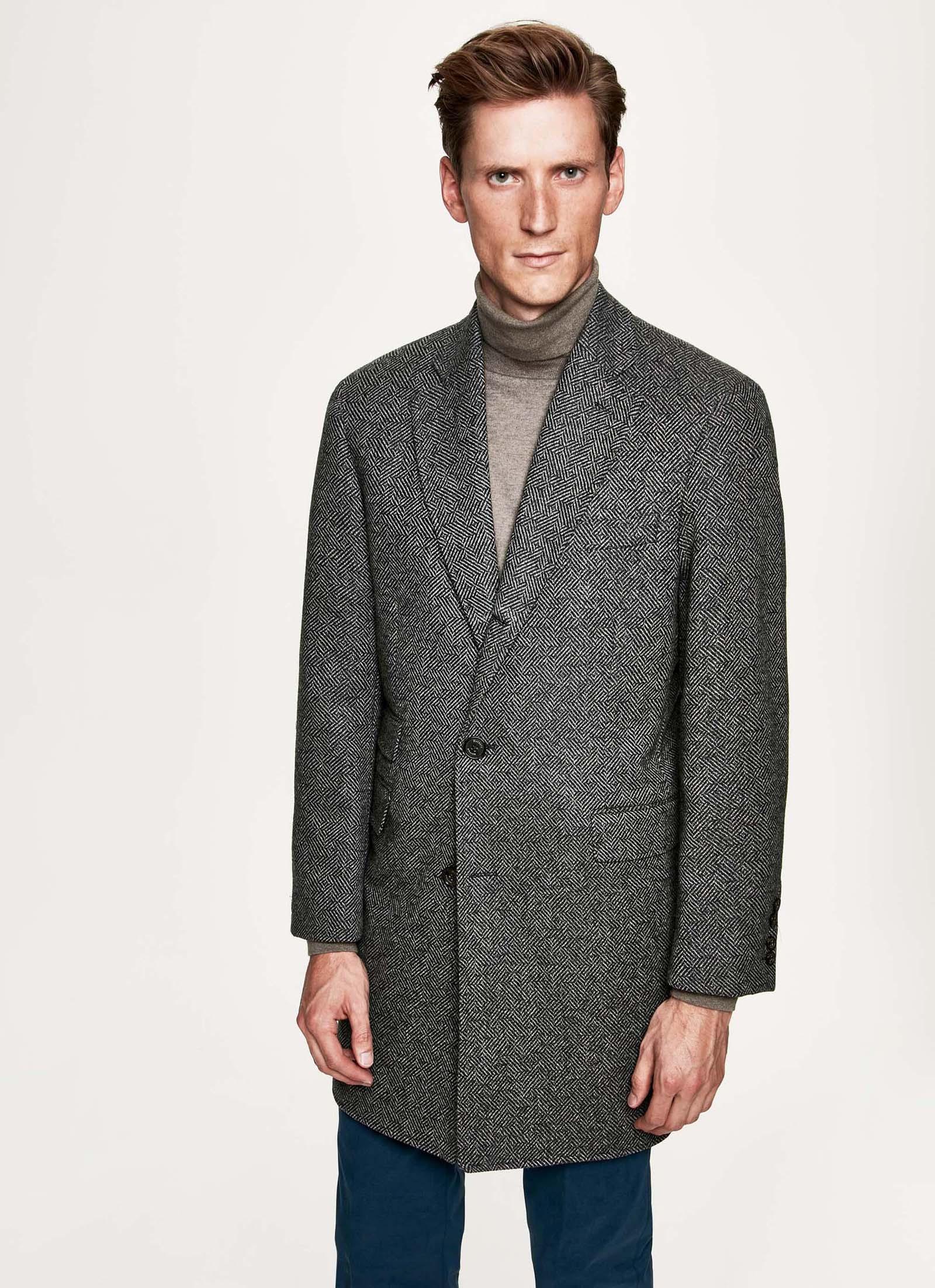 ddb5f139963 Hackett Herringbone Chadwick Overcoat in Gray for Men - Lyst