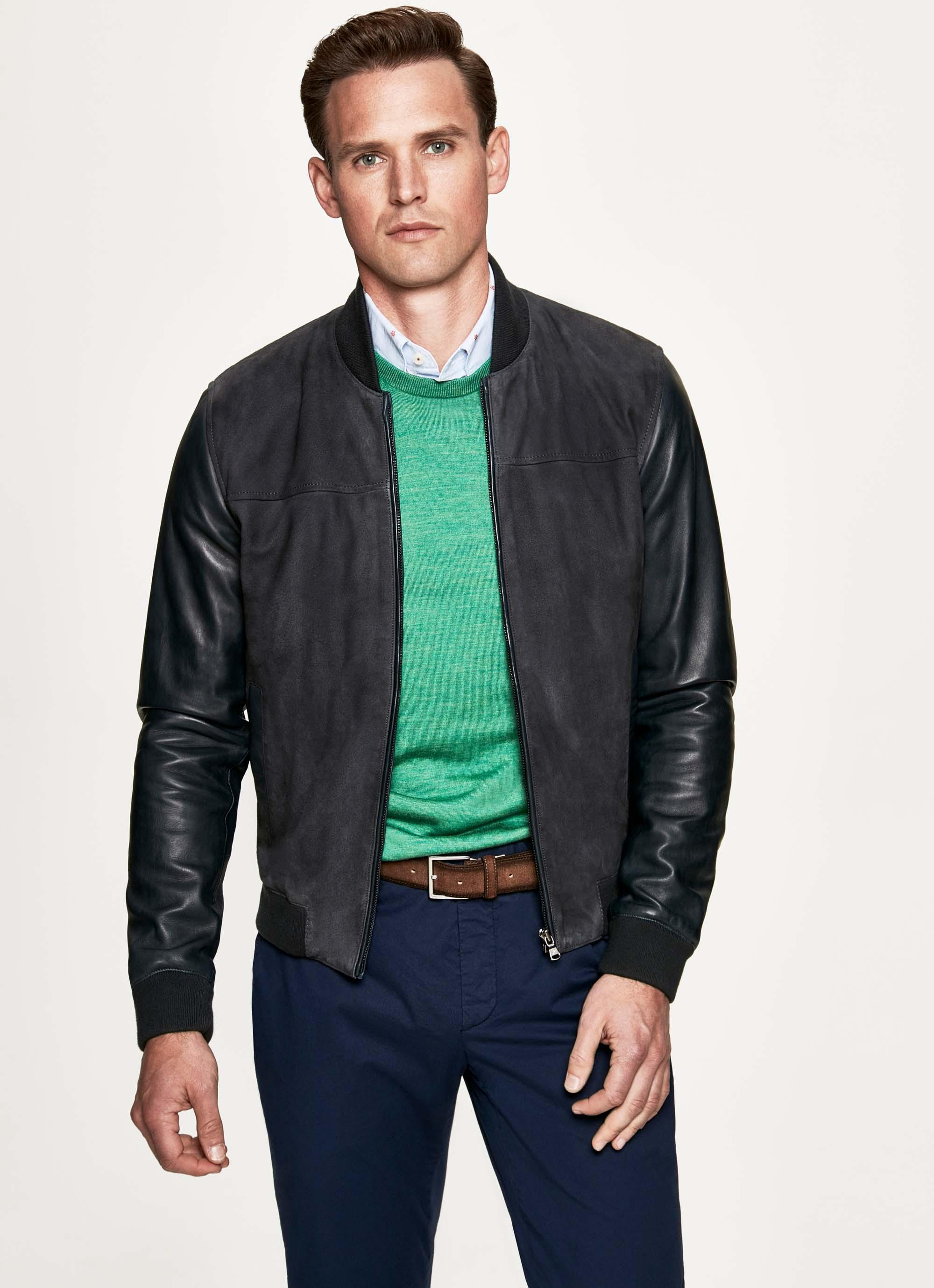ce849665752 Hackett Nappa Leather Bomber Jacket in Blue for Men - Lyst
