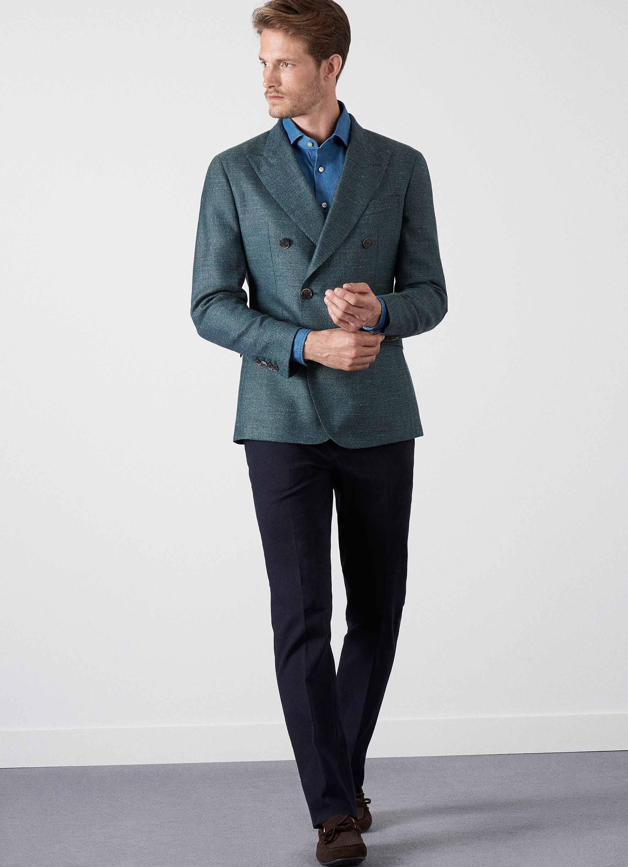 bdcd9cf5507c Hackett Summer Tweed Double Breasted Jacket in Green for Men - Lyst