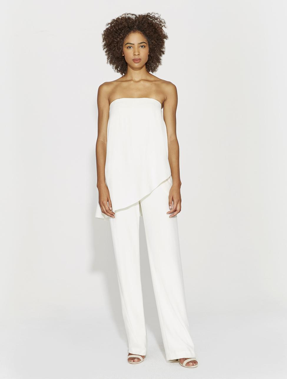 9e588ebe3e3 Lyst - Halston Strapless Flowy Crepe Jumpsuit in White
