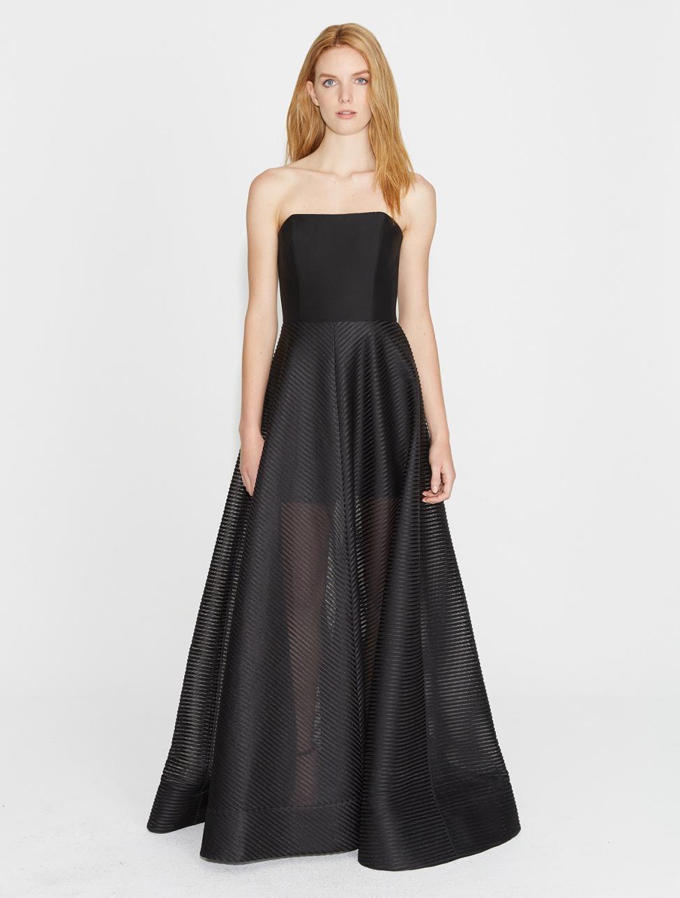 42f059acb2db Halston Strapless Stripe Mesh Gown in Black - Lyst